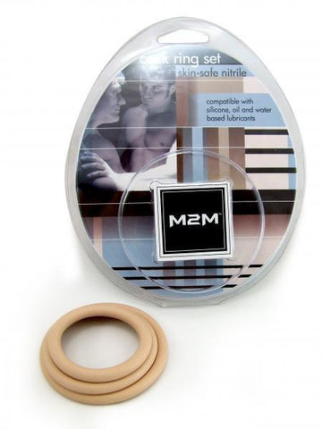 M2M Safe Skin Nitrile Cock Ring (Pack of 3) - Nude Package