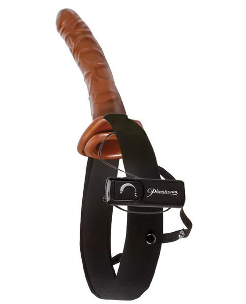 "Fetish Fantasy Series 10"" Vibrating Hollow Strap On - Chocolate Dream"