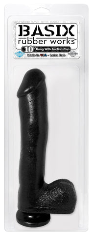 Basix 10 Inch Black Suction Cup Dildo Package