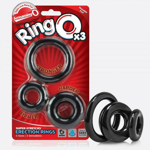 Screaming O RingO Pack of 3 - Black With Package