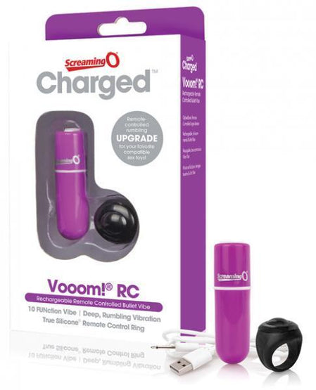 Charged Vooom Rechargeable Remote Control Mini Vibe Purple Package