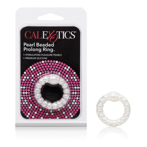 Pearl Bead Prolong Cock Enhancer Ring - White with Package