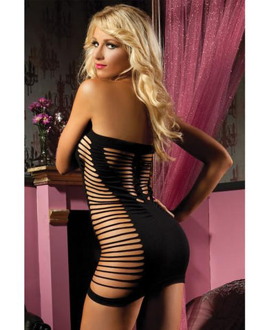 Seamless Tube Dress with Cut Outs on Sides - Black Back