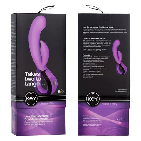Jopen Key Leia Rechargeable Dual Action Wand Vibrator Lavender Box Front and Back