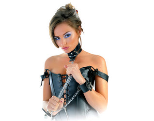 Fetish Fantasy Series Leather Collar and Cuffs Model