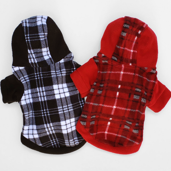 Practical and well-made, plaid soft fleece dog's hoodie to keep your pet warm this holiday season and throughout the year. Comfortable and super cozy fit for small breeds.
