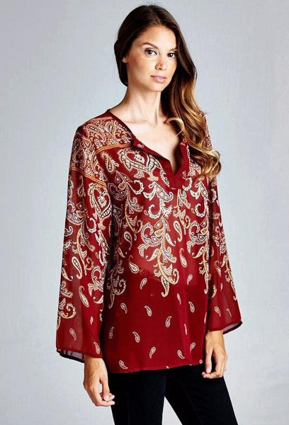 Paisley Print Top in Two Colors