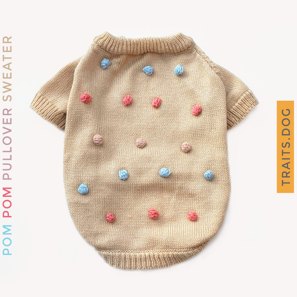 Lighthearted and playful Pom Pom Pullover Dog Cat Sweater is great for any time of the year. In this happy style super soft sweater your pet will be cozy and comfortable. Get your pet ready for the holidays!