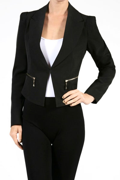 Fully Lined Zipper Detail Jacket