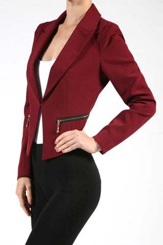 Fully Lined Zipper Detail Jacket in Two Colors