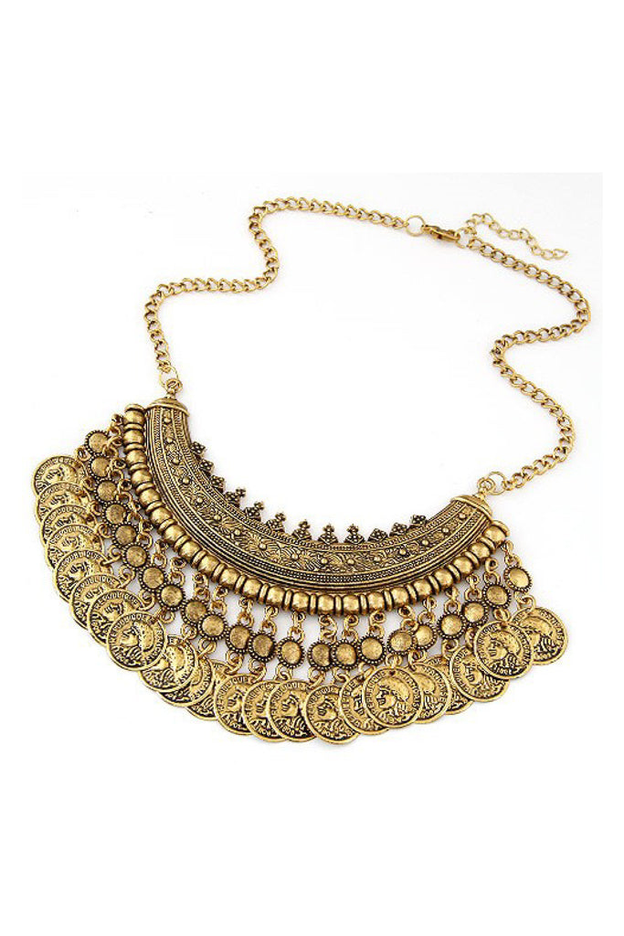 Bohemian Style Coin Necklace in antique gold finish with intricate details.