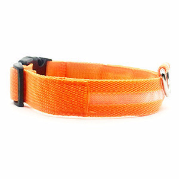LED Glow Adjustable Dog Cat Collar for night visibility to keep your pet safe from oncoming cars, bicyclists, pedestrians and any outdoor activities. Orange LED collar makes Halloween fun for your Dog!