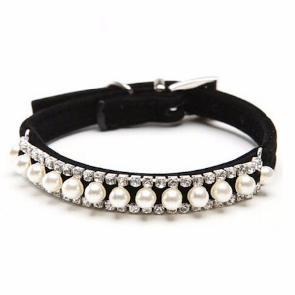 Adjustable Black Velvet pearl and crystal pet collar