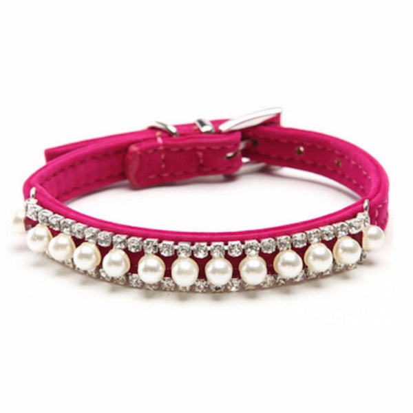 Adjustable Fuchsia Velvet pearl and crystal pet's collar