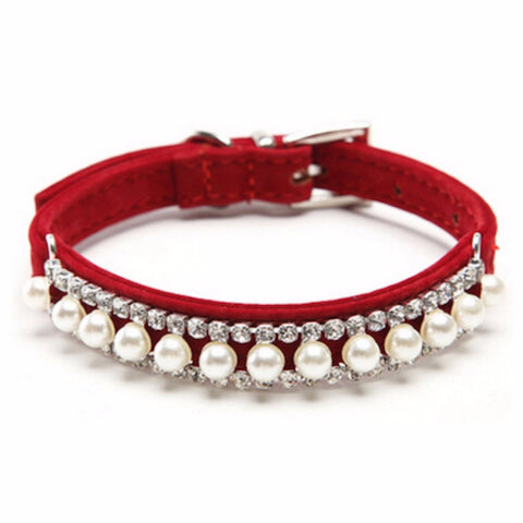 Adjustable deep Red Velvet pearl and crystal pet collar