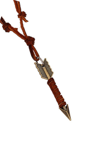 Genuine Leather Necklace with Antique Gold Finish Arrow