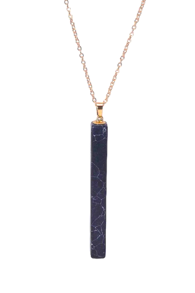 Long Stone Pendant Necklace