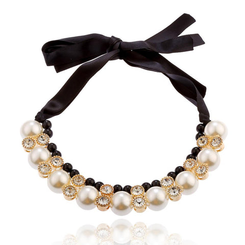 Pearl Rhinestone Necklace with Satin Band