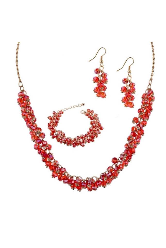 Crystal Bead Necklace Set