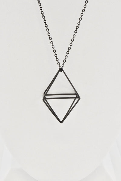 Enlarged view of the 3-D rhombus pendant in Black Matte finish