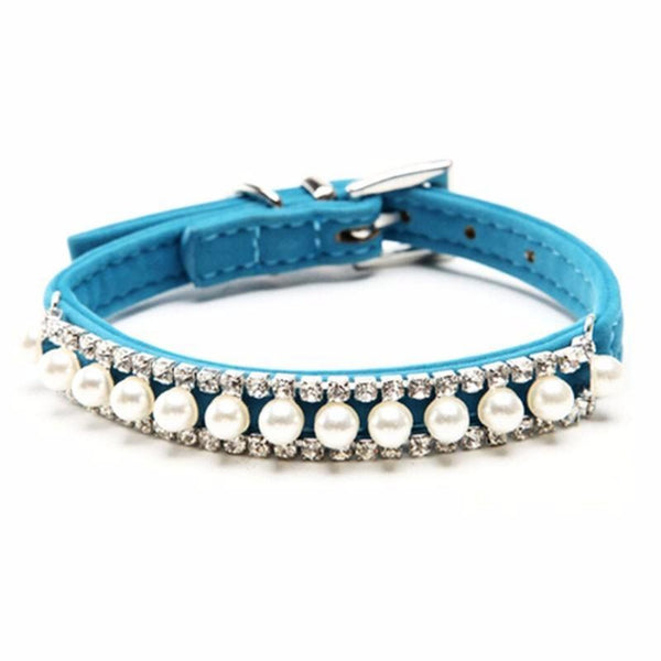 Adjustable light Blue Velvet pearl and crystal pet collar