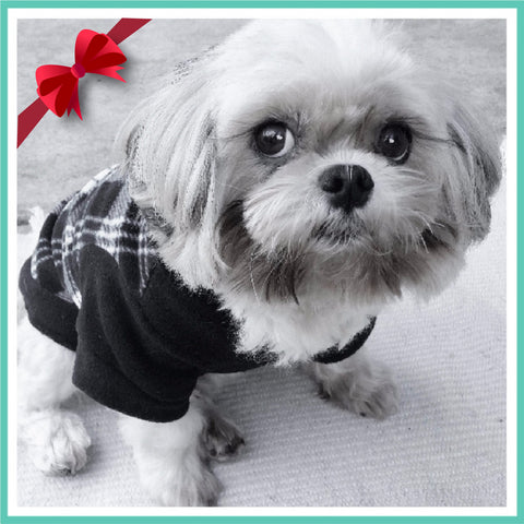 Black and White Plaid Fleece Pet's Hoodie