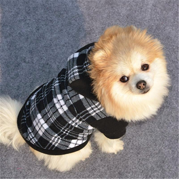 Plaid Soft Fleece Dog's Hoodie