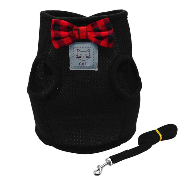 Extra soft mesh cat harness and leash set in black are designed for cats to distribute the pressure through the chest and shoulders, not on the neck.