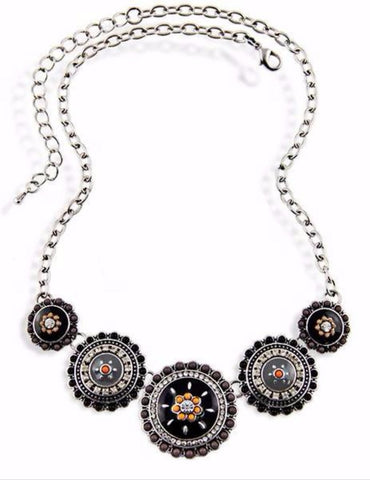 Vintage Style Black Enamel Necklace with Crystals