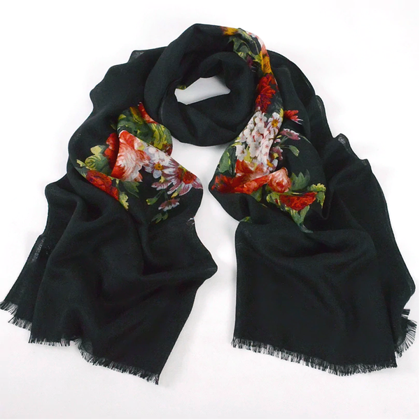 Super-Soft Pashmina Wool Scarf Wrap Shawl - Frayed Edge, Black with Flowers
