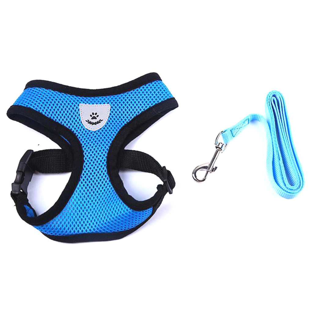 Durable Nylon and Polyester Mesh, Breathable, Reflective Dog's and Cat's Vest harness and leash set is made for sma