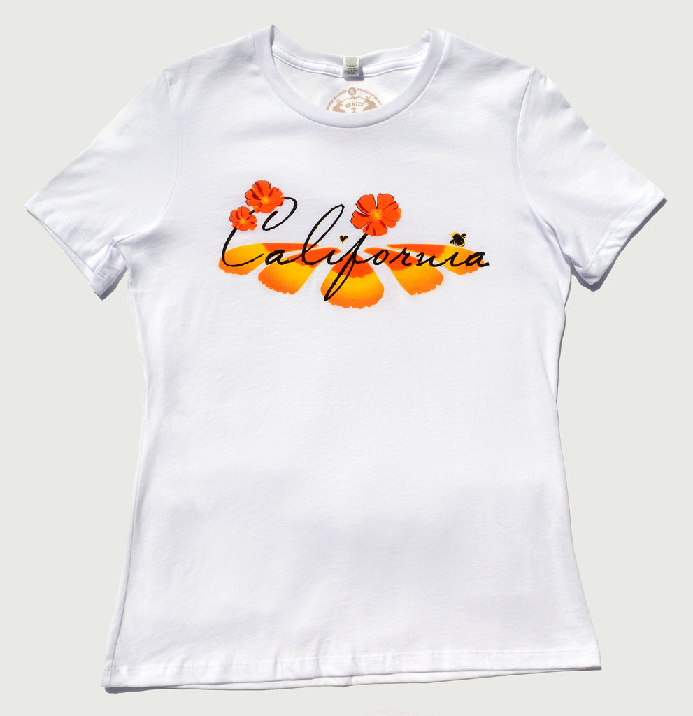 California Poppy design white T-shirt