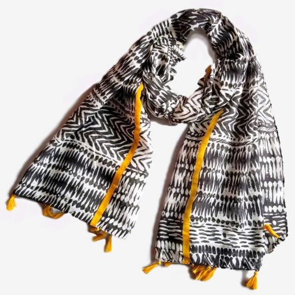 Black and White Monochrome Print Scarf Shawl Wrap with Amber Color Stripe and Tassels