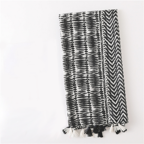 Black and White Monochrome Print Scarf Shawl Wrap with Tassels