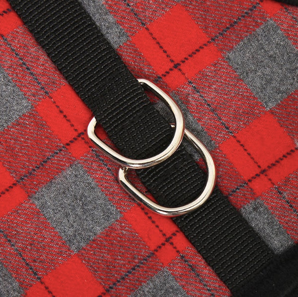 Naughty Plaid Adjustable Harness and Leash with Escape Proof Buckle for Dog and Cat