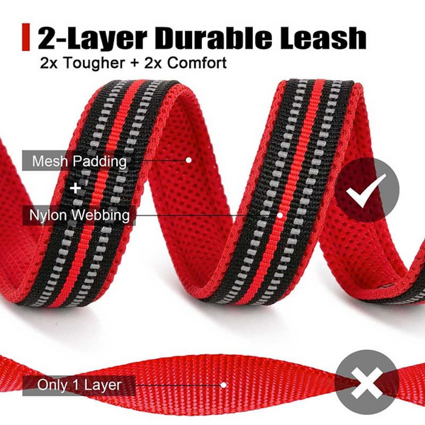 Well-constructed Reflective Dog's Soft Padded Leash with High-strength Swivel Hook is made of premium quality, weatherproof materials and durable hardware. Safe, comfortable, convenient and durable for walking, running, hiking and training.  This leash is a Perfect match for TRAITS's Brite Vibes Reflective Dog's Vest Harness for Larger Breeds