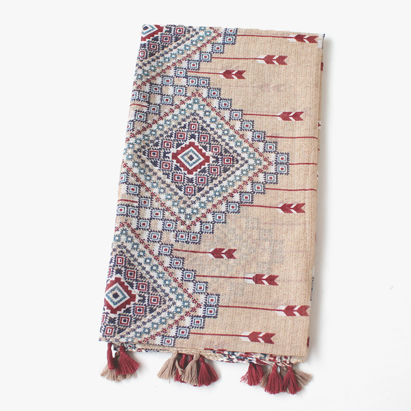 Aztec Print Bohemian Style Scarf Shawl Wrap with Tassels