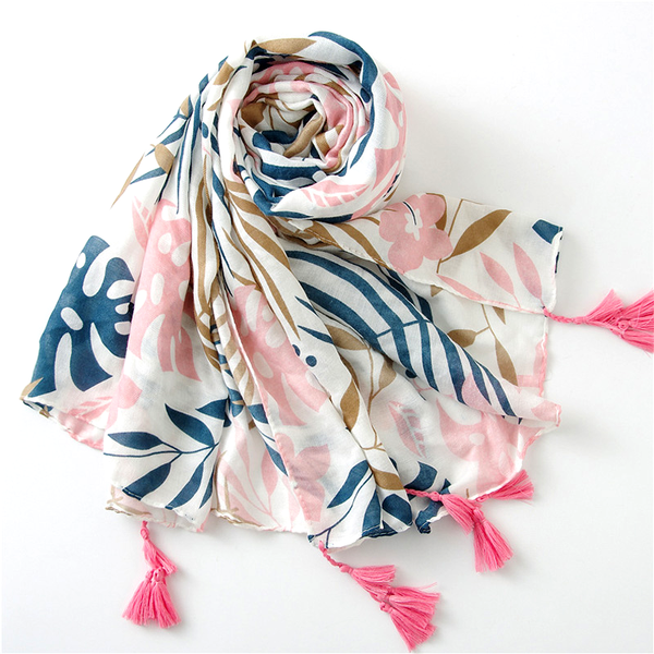 Tropical Lush Bohemian Style Scarf Shawl Wrap with Tassels