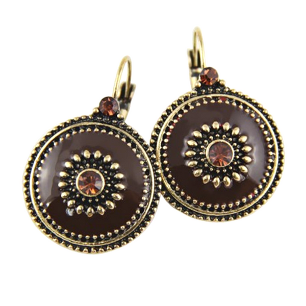 Vintage Style Enamel Drop Earrings with Crystal