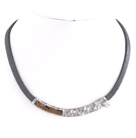 Metal Bar Leather Necklace