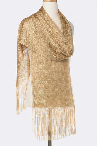 Glitter Thread Scarf with Long Fringe