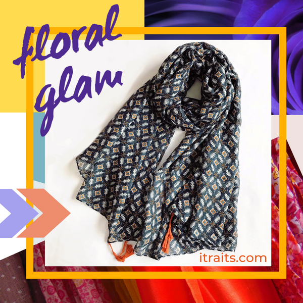 Elevate every outfit with this versatile Floral & Geometric Print Scarf Shawl Wrap with Tassels. This is the new Bohemian vibe - a romantic and practical in two color print