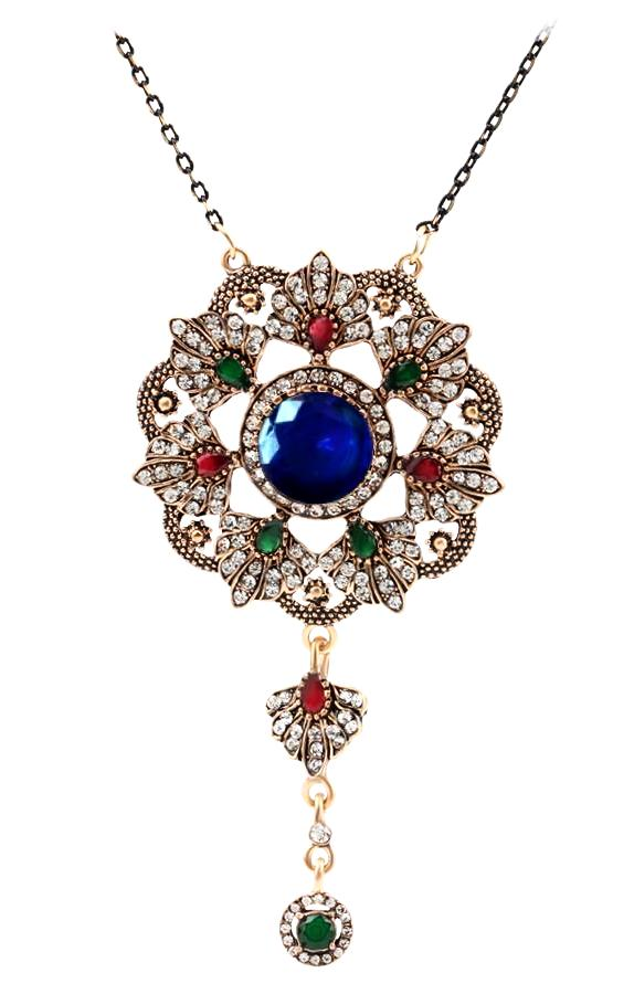 Magic flower antique look 18k gold plated pendant necklace traits magic flower 18k gold plated pendant necklace with blue green red cz mozeypictures Images