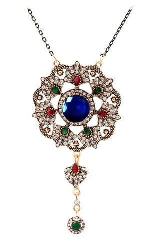 """Magic Flower"" CZ Crystals Antique look 18K Gold Plated Pendant Necklace"