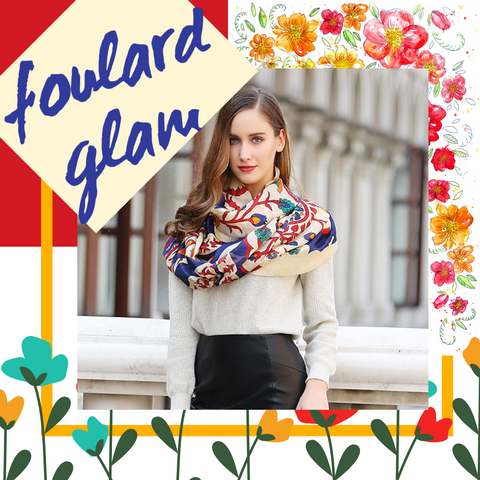 Multi Colored Foulard Floral Print Scarf Shawl Wrap with Tassels