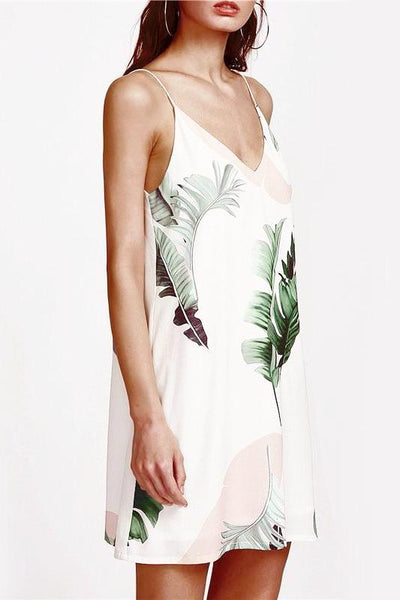 Little White Slip Dress with a Tropical Lush Print