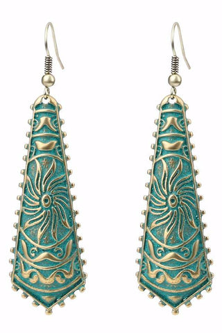Bohemian Vintage Style French wire Drop Earrings with Green Bronze Patina