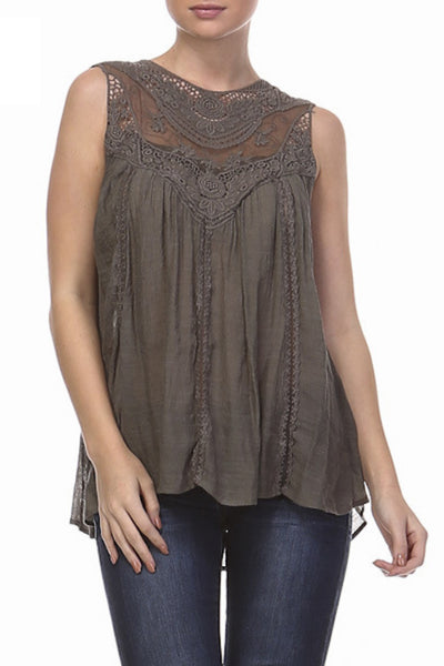 Lace Detail Bohemian Top in Two Colors