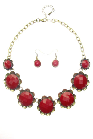Flower Necklace Set in Burgundy Color