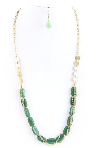 Long Chain Necklace with Stones